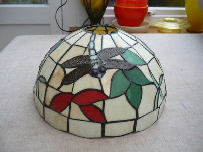 Stunning Tiffany Art Nouveau style glass/lead shade depicting dragon flies
