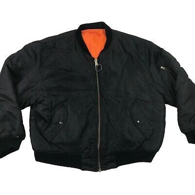 307ac063e8d VTG 90s MA-1 Mens Alliance Flight Pilot Bomber Black Orange Army Jacket USA  XL