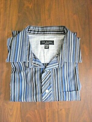 156140729b8de Ted Baker London Mens French Cuff Button Down Blue Striped Dress Shirt sz  17-34