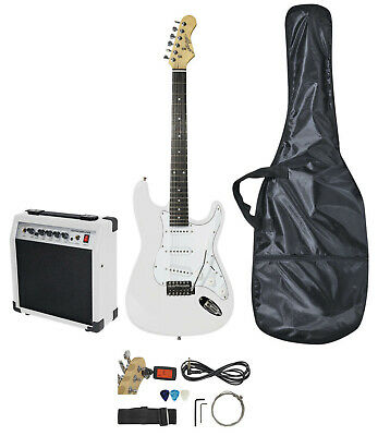 Johnny Brook Standard Electric Guitar Kit - WHITE with 20W Combo Amplifier  Bag