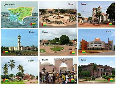 AK Guinea-Bissau Cathedral Mosque Bafata Market Country Map New Postcard