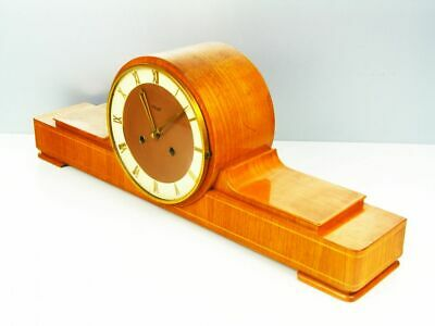 Pure Art Deco Long  Chiming Mantel Clock From  Kienzle Germany