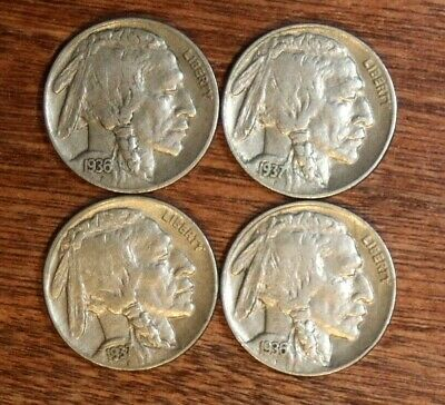 4 BUFFALO NICKELS -1936-S 1936-P 1937-P 1937-D - Full Horn - #6398
