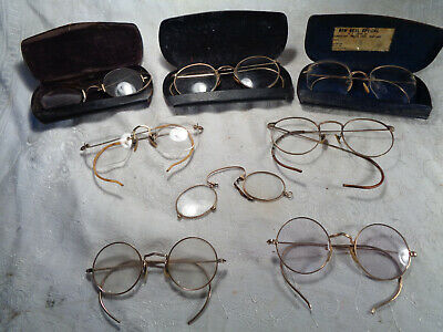 9fb04e02e59f ANTIQUE LOT OF SHURON Wire Rim Eye Glasses 5 1 10 12k Gold Filled NO ...