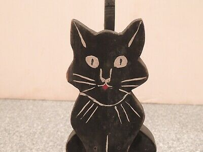 Vintage Folk Art Black Cat Door Stop Wooden Primitive