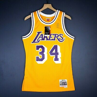 f3bd3c99a01 100% Authentic Shaquille O Neal Mitchell Ness 96 97 Lakers Jersey Size 36 S