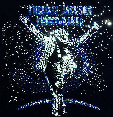 "Michael Jackson Iron-on  ""Moonwalker"" rhinestone motif for t-shirts, sweaters..."