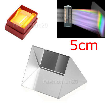 5cm Optical Glass Triple Triangular Prism Physics Refractor Light Spectrum NEW