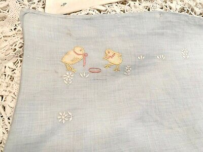 Antique baby pillow case, pale blue, baby chicks, baby gift, nursery vintage