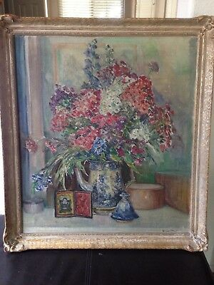 Antique Floral Still Painting by Listed Artist  Vivian Church Hoyt ( born 1880)