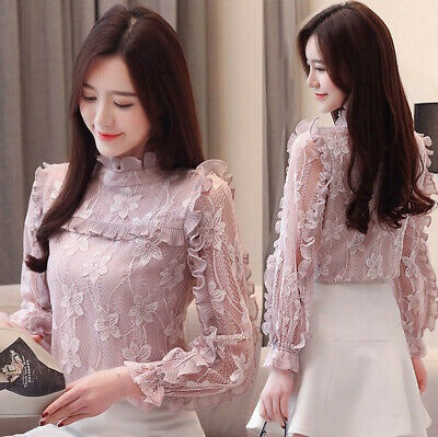 New Spring Fashion Women Lace Ruffle Chiffon Shirt Casual Party Work Blouse Tops