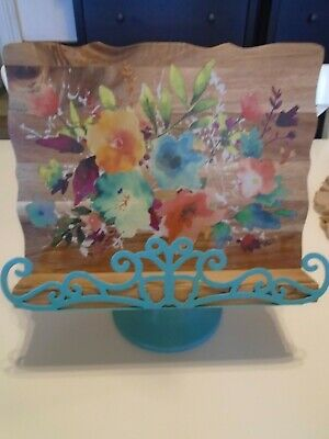 Pioneer Woman Cookbook Stand, Wood and Metal with turquoise, red, yellow floral