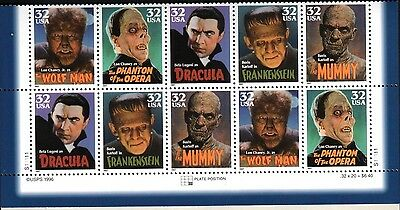HOLLYWOOD CLASSIC US Scott 3168-3172 MOVIE MONSTERS 32c Plate Block of 10 Stamps