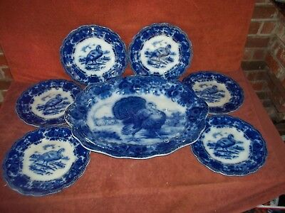 Ridgways from England Flow Blue Serving Platter Rare Turkey Motif with 6 Plates