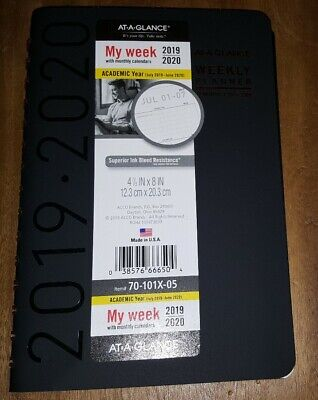 2019-2020 At-A-Glance Contempo Academic Weekly-Monthly Planner 12 month My Week