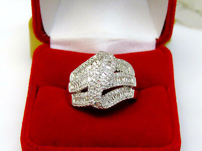 Large 1 Carat Natural Baguette Diamond Statement Ring Sterling Silver Sz 7 Real