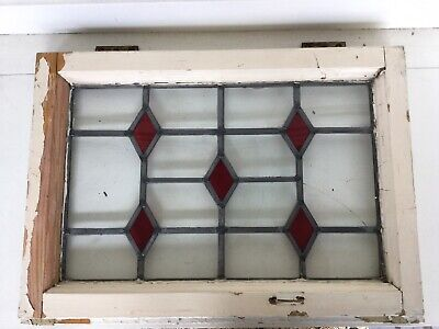 Antique Stained Leaded Glass Window With Frame Archetectural Salvage Red Diamond