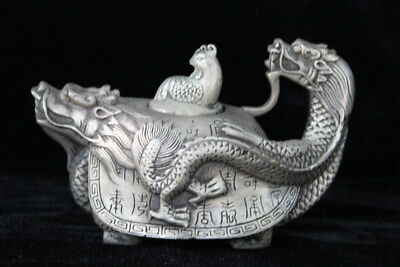 Chinese Collectable Miao Silver Hand Carve Dragon Totem Souvenir King Teapot
