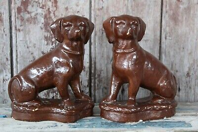 Stunning Pair of Vintage/Antique French Plaster Dog statues