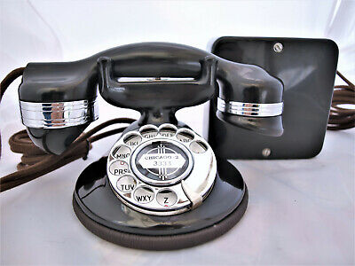 1920/30s TELEPHONE AMERICAN FULLY RESTORED bakelite ART DEC  V.COLLECTABLE + BOX