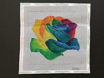 Sherry Hand-painted Needlepoint Canvas Large Rainbow-Colored Rose