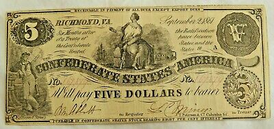 1861 $5 Dollar Bill Richmond Confederate States Civil War Currency Paper Money