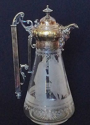 Antique Victorian Silverplate & Etched Crystal Claret Jug Pitcher Shakespeare