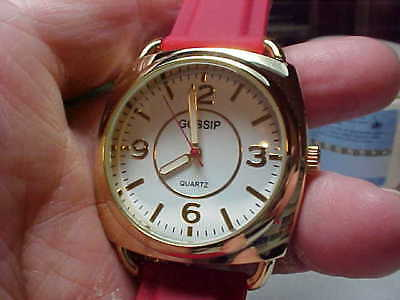 Nice Large Gossip Brand Ladies Watch With Red Silicone Band Nice And Clean