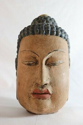 Chinese Antique Hand Carved Painted Wood Buddha Head
