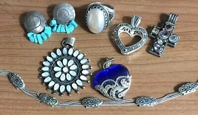 Lot Sterling Silver 925 Pollack Ring Pendants Turquoise Earrings++Wear No Scrap