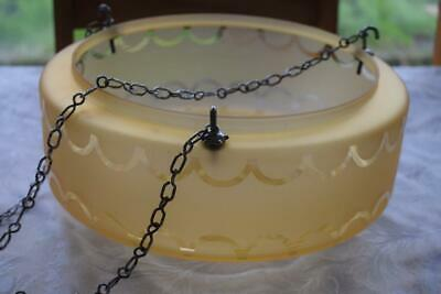 Vintage Art Deco Amber Glass With Chains Hanging Pendant Ceiling Light Shade