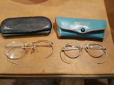 Lot Of 2 Vintage Wire Frame Eye Glasses In Their Cases 1/10 12K GF Gold Filled.