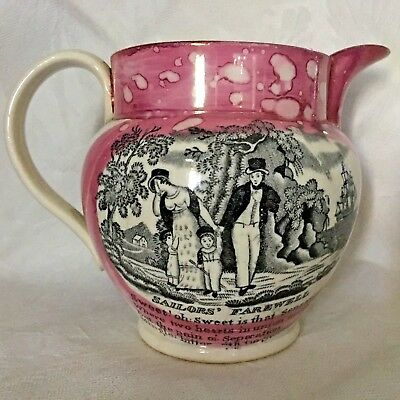 Decorative Arts Antique Sunderland Ware Pink/mulberry Lustre Pottery Wall Plaque W Ship 19c