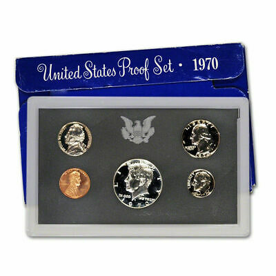 1970-S US Mint Proof Set. 5 COINS WITH 40% SILVER KENNEDY HALF DOLLAR. L@@K.