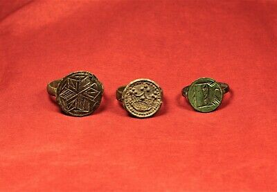 Lot of 3 Medieval Silver Seal Ring