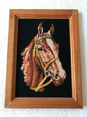 Vintage Framed art farm riding horse brown portrait head tapestry needlepoint