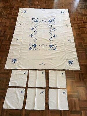 Vintage white blue floral linen applique embroidery stitch tablecloth 6 napkins