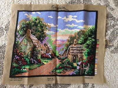Vintage Sophie 50 x 40cm large European English cottage village garden tapestry