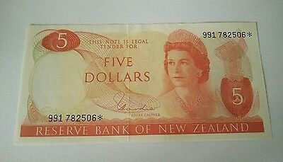 Vintage New Zealand five dollars 1960s
