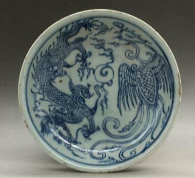 Chinese old  Blue & white porcelain dragon and phoenix pattern plate b01
