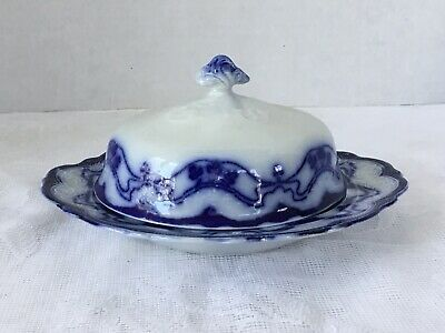 Flow Blue Covered Butter Dish 3 Pieces New Wharf Pottery Paris W Shamrock