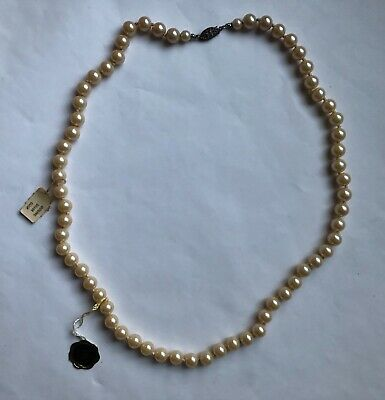 """382a3d98d Vintage Prestige 23"""" Pearl Necklace W/sterling Silver Clasp - New In Box W"""