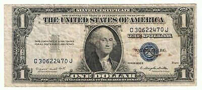 1935 G Silver Certificate Blue Seal - One Dollar US - Off Center Error Cut