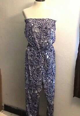 5e141120cce1 LILLY PULITZER FOR Target White Blue Strapless Jumpsuit Size S ...