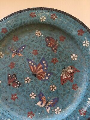 PR Antique Japanese 19th C Meiji Period Signed Totai Cloisonne Butterfly Plates