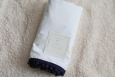 pottery barn kids pom pom crib skirt original $99 one size navy new