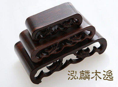 A Set nice 3P Wood Stand of Netsuke Snuff bottle,dragon Carving Display