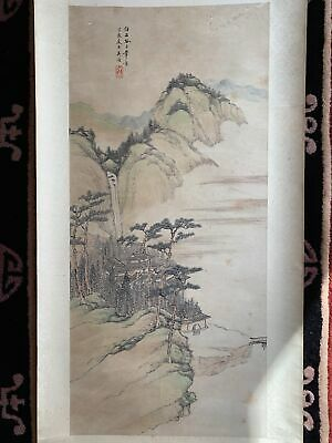Chinese Repulbic Hand Painting On Paper Antique Scroll Landscaping