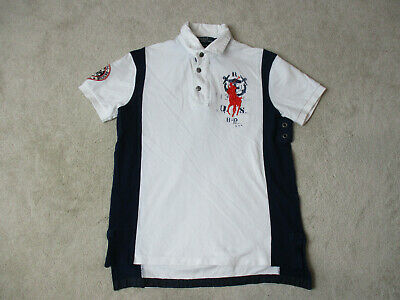 9c08f58e VINTAGE Ralph Lauren Polo Shirt Adult Small White Orange Big Pony Rugby Mens  90s