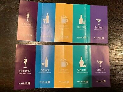 UNITED AIRLINES COUPONS Alcohol Beverage Drink Voucher  Exp  Jan 31, 2020  Qty:10
